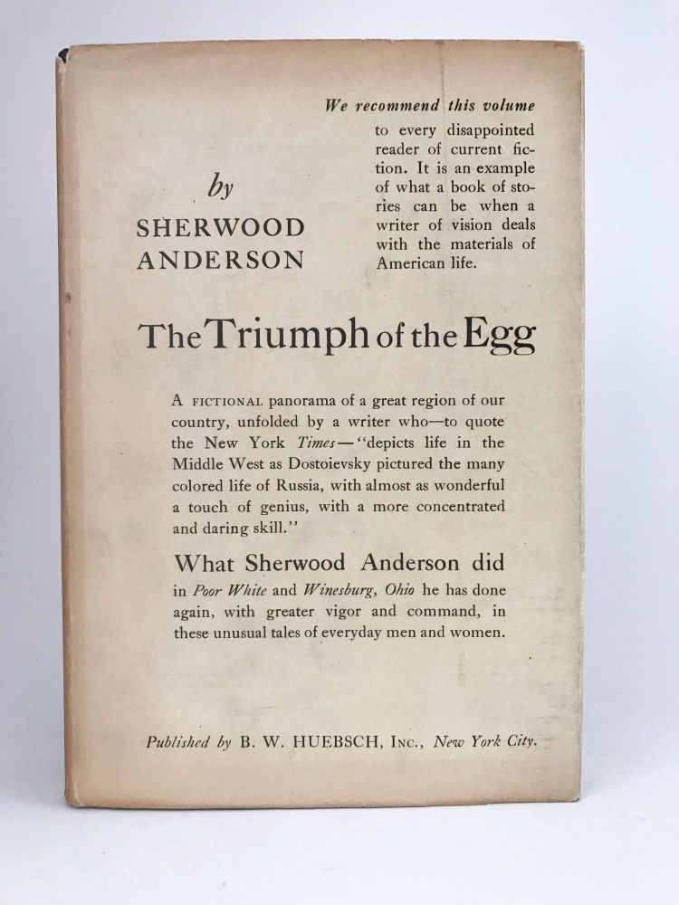 The Triumph of the Egg. Sherwood ANDERSON.