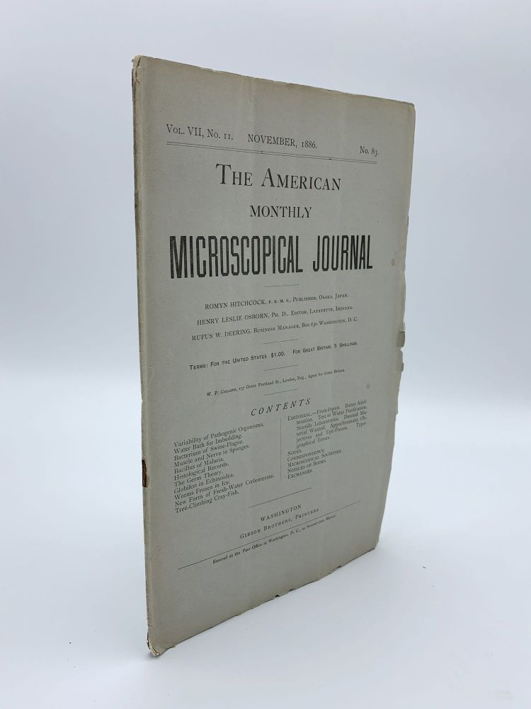 """""""The bacterium of swine-plague"""".; In: The American Monthly Microscopical Journal. Vol. VII, no, II, no. 83. Daniel Elmer SALMON, Theobald SMITH."""