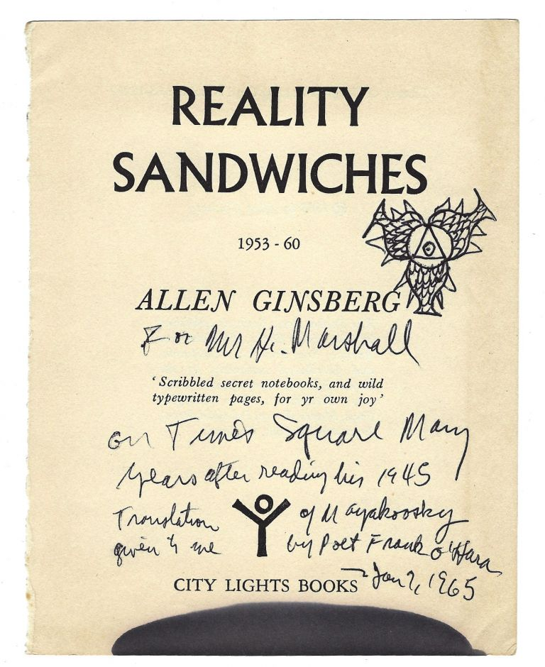 Autograph note, on title of Reality Sandwiches. Allen GINSBERG.