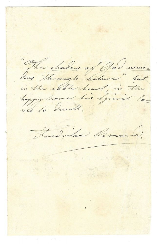 Autograph quotation signed, undated. Fredrika BREMER.