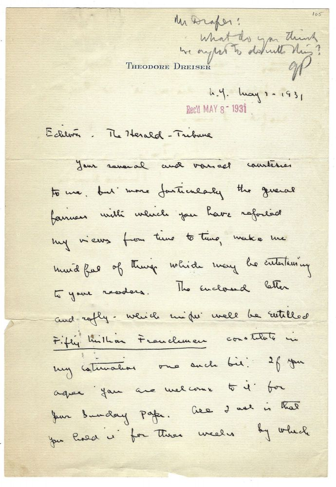 """Autograph letter signed (""""Theodore Dreiser"""") to Geoffrey Parsons of the New York Herald Tribune, New York, 1 May 1931. Theodore DREISER."""