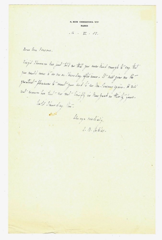 "Autograph letter signed (""A. B. Toklas"") to Geoffrey Parsons of The New York Herald Tribune, Paris, 16 June 1952. Alice B. TOKLAS."
