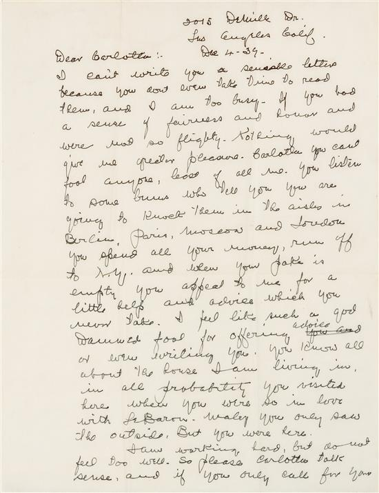 "Autograph letter signed (""Grumpy Old Fields""), to his estranged mistress, Carlotta Monti (Douglas). Los Angeles, 4 December 1939. W. C. FIELDS."