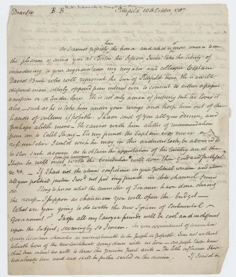 "Autograph letter signed (""H V Schaak"") to Theophilus Parsons, Pittsfield, 10 October 1787. Henry van SCHAAK."