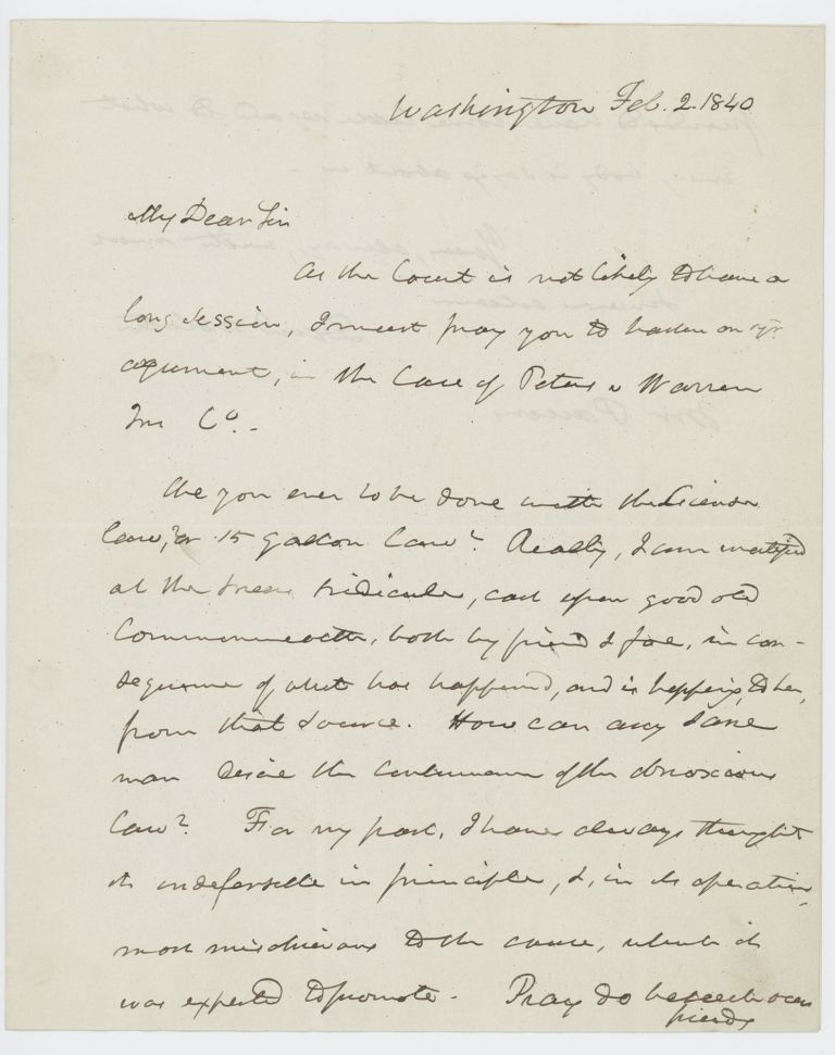 Autograph letter signed to Theophilus Parsons, Jr., Washington, D.C., 2 February 1840. Daniel WEBSTER.