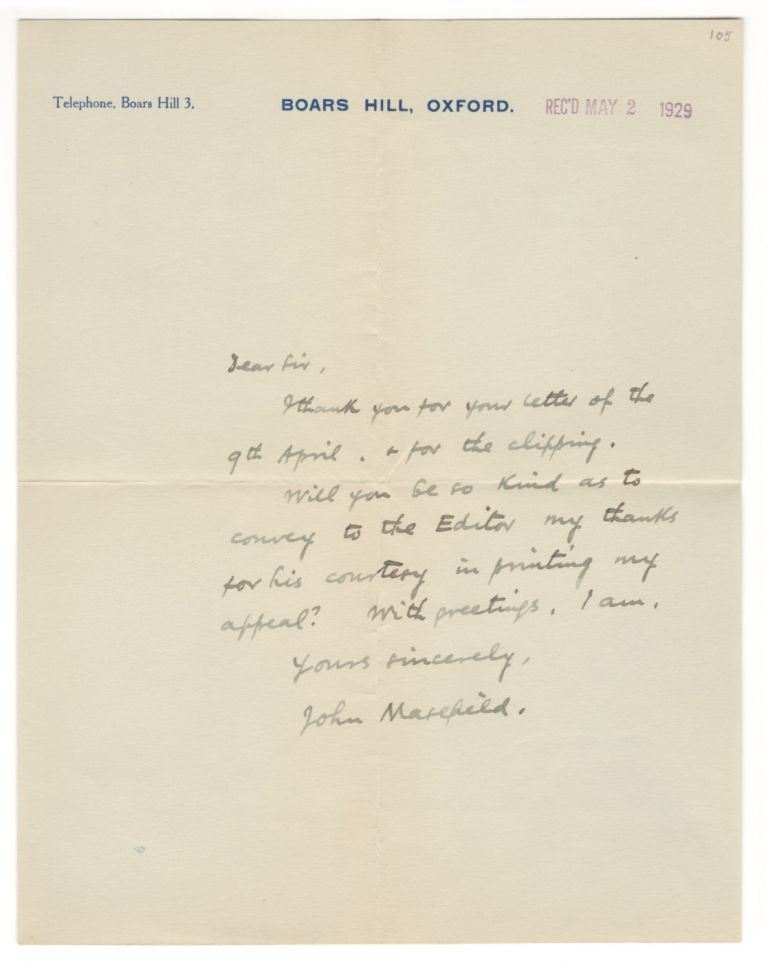 Autograph letter signed, 1929. John MASEFIELD.