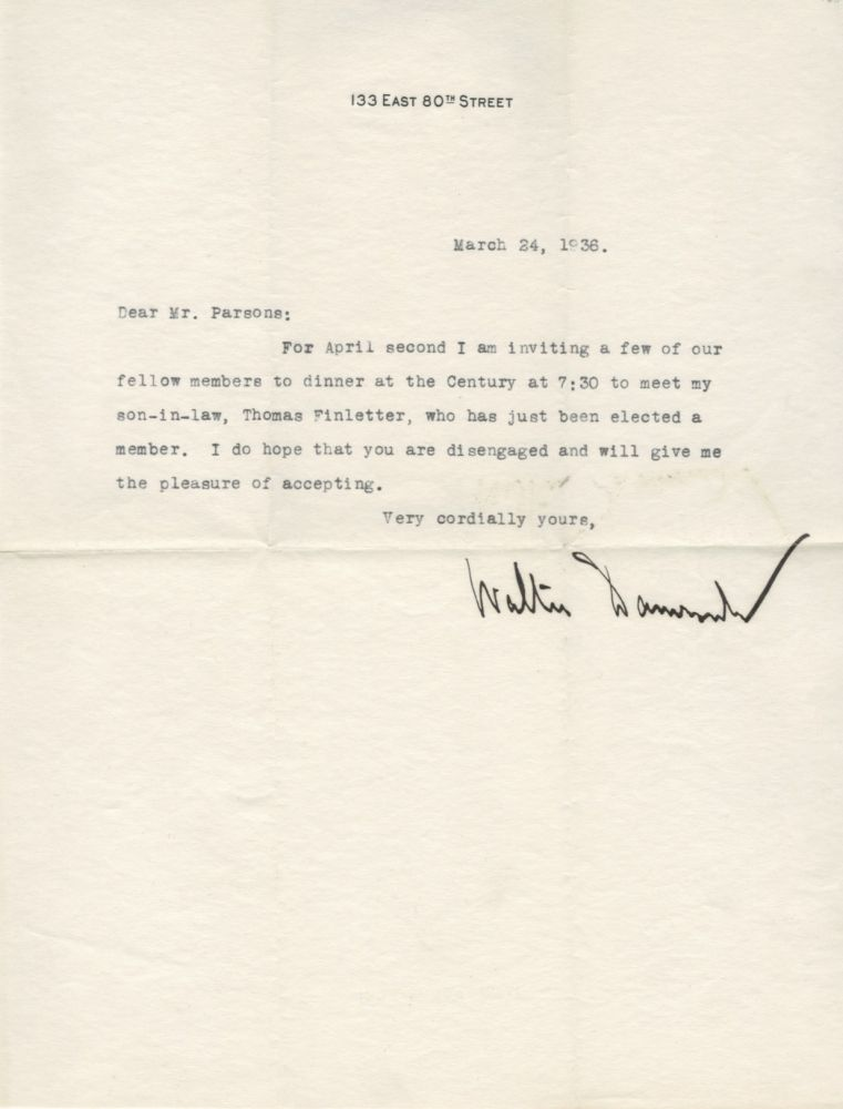 Typed letter signed, 1936. Walter DAMROSCH.