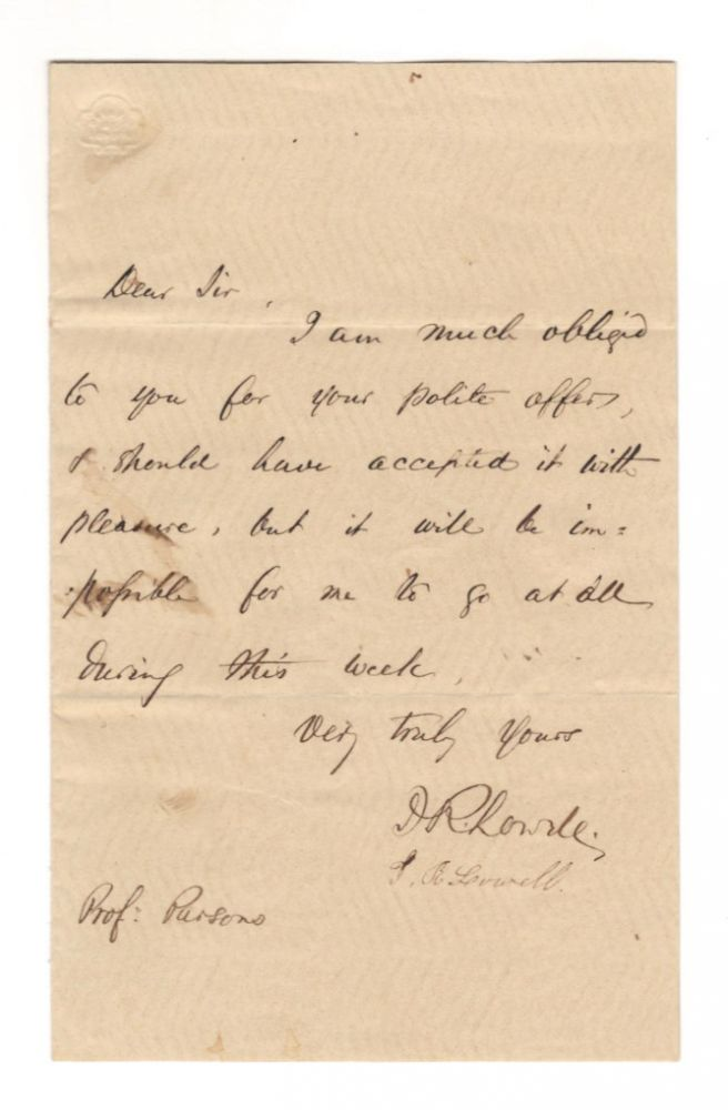 Autograph letter signed, n.d. James Russell LOWELL.