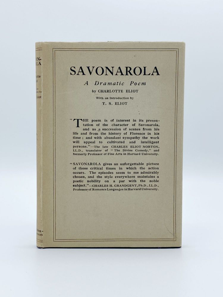 Savonarola. Charlotte ELIOT, T. S. ELIOT, introduction.