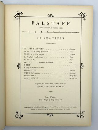 Falstaff. Lyrical Comedy in Three Acts