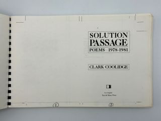 Solution Passage. Poems 1978-1981. Clark COOLIDGE, b. 1939