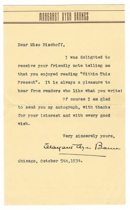"Typed letter signed (""Margaret Ayer Barnes""), Chicago, 5 October 1934. Margaret Ayer BARNES"