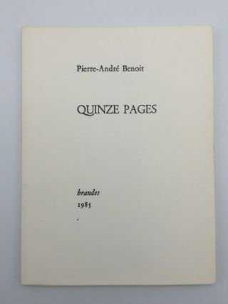"Quinze Pages. Pierre André BENOIT, ""PAB"""