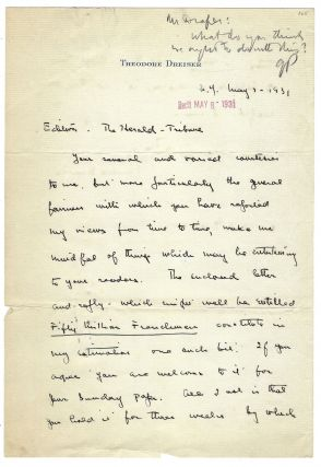 "Autograph letter signed (""Thedore Dreiser"") to Geoffrey Parsons of the New York Herald Tribune,..."