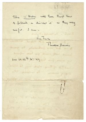 """Autograph letter signed (""""Theodore Dreiser"""") to Geoffrey Parsons of the New York Herald Tribune, New York, 1 May 1931"""