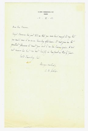 "Autograph letter signed (""A. B. Toklas"") to Geoffrey Parsons of The New York Herald Tribune,..."