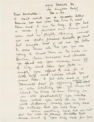 "Autograph letter signed (""Grumpy Old Fields""), to his estranged mistress, Carlotta Monti (Douglas). Los Angeles, 4 December 1939"