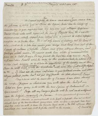 "Autograph letter signed (""H V Schaak"") to Theophilus Parsons, Pittsfield, 10 October 1787...."