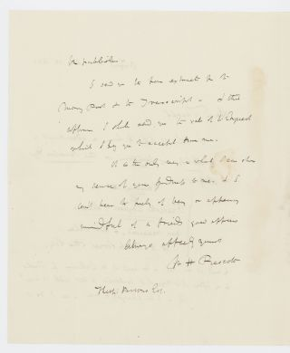 Two autograph letters signed to Theophilus Parsons, Jr., 1843 and n.y.