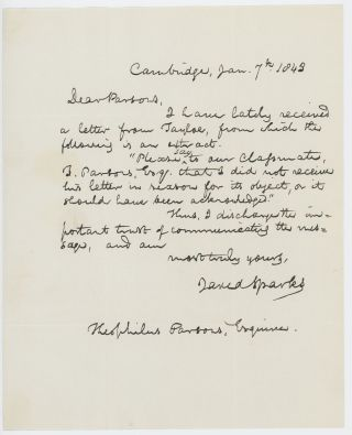 Autograph letter signed to Theophilus Parsons, Jr., Cambridge, 7 January 1843. Jared SPARKS