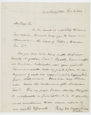 Autograph letter signed to Theophilus Parsons, Jr., Washington, D.C., 2 February 1840. Daniel...