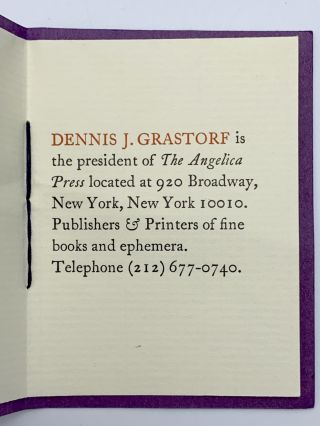 """Dennis J. Grastorf is the president of The Angelica Press"" [pamphlet business card]. ANGELICA..."