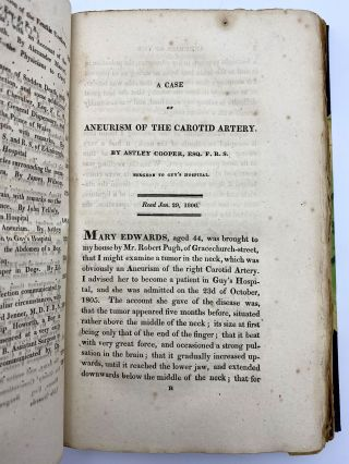 """A case of aneurism of the carotid artery"". In: Medico-Chirurgical Transactions. Volume 1. Sir..."
