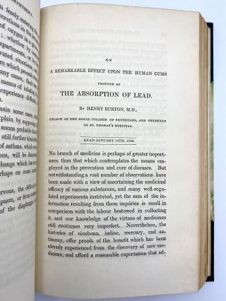 """On a remarkable effect upon the human gums produced by the absorption of lead."" In:..."