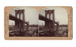 """Brooklyn Bridge. New York, N.Y. No. 2405"". STEREOVIEW, B. L. LINGLEY"