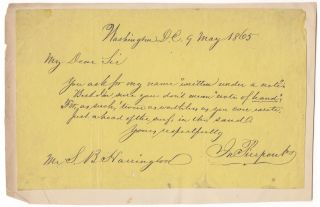 "Autograph letter signed (""Jno. Pierpont""), in verse, to S. B. Harrington, Washington D. C. John..."