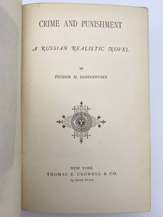 Crime and Punishment; a Russian realistic novel