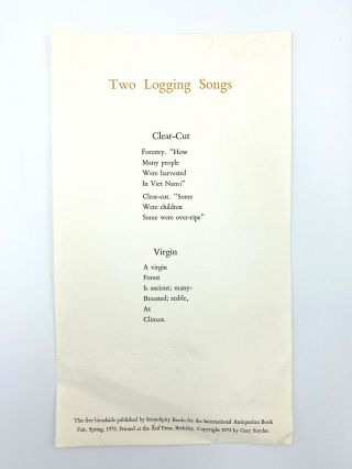 Two Logging Songs [Broadside]. Gary SNYDER
