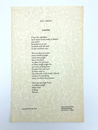 Easter [Broadside]. Ray FREED