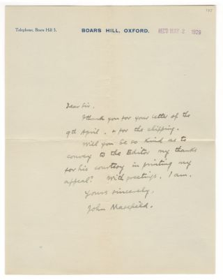 Autograph letter signed, 1929. John MASEFIELD