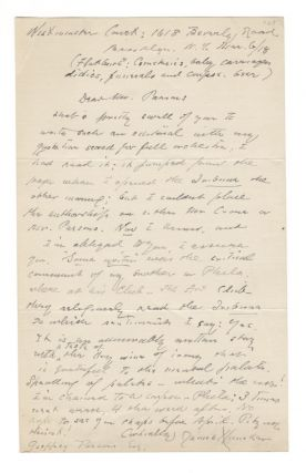 Autograph letter signed, 18 June n.y. James HUNEKER
