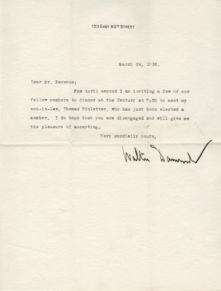 Typed letter signed, 1936. Walter DAMROSCH