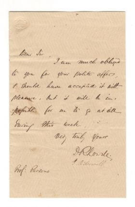 Autograph letter signed, n.d. James Russell LOWELL
