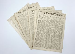 Fine collection of five complete issues of 'The London Chronicle' newspaper, each issue...